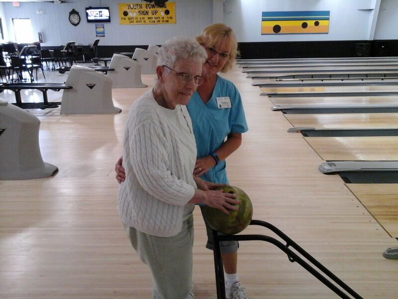 Azura of Clinton helps our residents bowl and reminisce.
