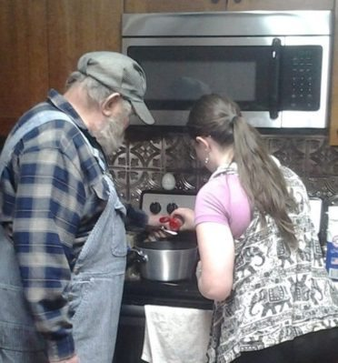 One of our Azura of Eau Claire residents get cooking in the kitchen as part of our Core Value approach to memory care.